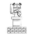 pixel character knight game wall brick vector image vector image