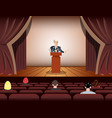 public speaker speaking to microphones on stage vector image vector image