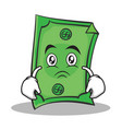 sad face dollar character cartoon style vector image vector image