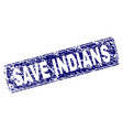 scratched save indians framed rounded rectangle vector image vector image
