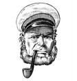 sea captain marine old sailor with pipe or vector image vector image
