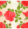 seamless texture pink roses with buds and leaves vector image
