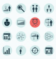 set 16 executive icons includes planning vector image vector image