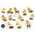 set gramophone player phonograph and vinyl disks vector image