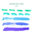 set green blue watercolor stripes vector image vector image