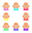 set of girls faces with different emotions flat vector image