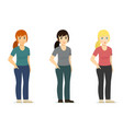 set - smiling cute white woman girl in different vector image vector image