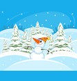 snowman in the forest vector image