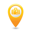 suitcase icon on map pointer yellow vector image