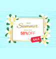 summer plumeria flowers frame or summer floral vector image vector image