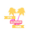 summer time palm trees with ribbon and text vector image vector image