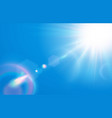 sun in blue sky warm solar lens flare in clear vector image vector image