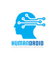 techno human droid head logo concept vector image vector image