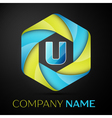U Letter colorful logo in the hexagonal on black vector image vector image