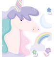 unicorn clouds flowers rainbow fantasy magic cute vector image