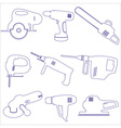 various power tools outline icons set eps10 vector image