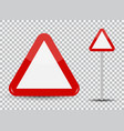 warning road sign on transparent background red vector image vector image
