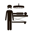 black silhouette surgeon in quirophan with pacient vector image