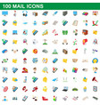 100 mail icons set cartoon style vector image vector image
