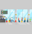 airport check in registration desk and people vector image vector image