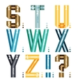 Alphabet letters of ribbons and lines vector image vector image