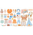 baby furniture and clothes nursery elements vector image