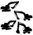 backhoe silhouette vector image vector image