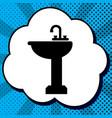 bathroom sink sign black icon in bubble vector image vector image