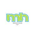 blue green alphabet letter mh m h logo icon design vector image vector image