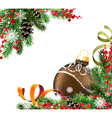 Brown Christmas ball and fir tree branches vector image vector image