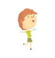 cartoon boy playing with paper airplane kids vector image