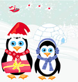 Christmas card with a penguins and santa vector image vector image