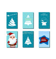 collection of merry christmas greeting cards vector image vector image