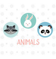 cute group of animals heads characters vector image vector image