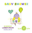 cute newborn parrot bashower or arrival card vector image vector image