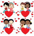 diverse kids couples sitting on hearts valentine vector image vector image