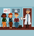 doctor or dentist with people waiting in line vector image vector image
