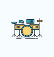 drum drums instrument kit musical flat icon green vector image