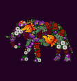 Elephant in Ukrainian traditional painting vector image vector image