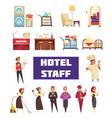 flat hotel staff set vector image vector image