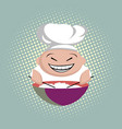 funny asian cook with chopsticks cooks rice in a vector image
