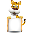funny tiger cartoon with blank sign vector image vector image