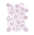 graphical flower black flower contour flower vector image vector image