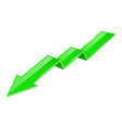 green indication arrow moving down 3d financinal vector image