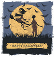 happy halloween card with couple lovely vector image