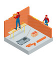 isometric industrial worker building exterior vector image