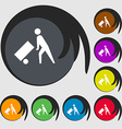Loader icon sign Symbol on eight colored buttons vector image vector image