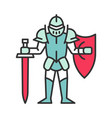 medieval knight with shield and sword color icon vector image