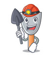 miner cartoon putty knife in plaster vector image