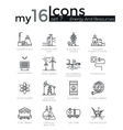 Modern thin line icons set of energy and resources vector image